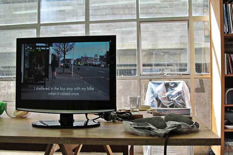 installation image of video work and relic from Duas Cidades at RM Gallery, Auckland