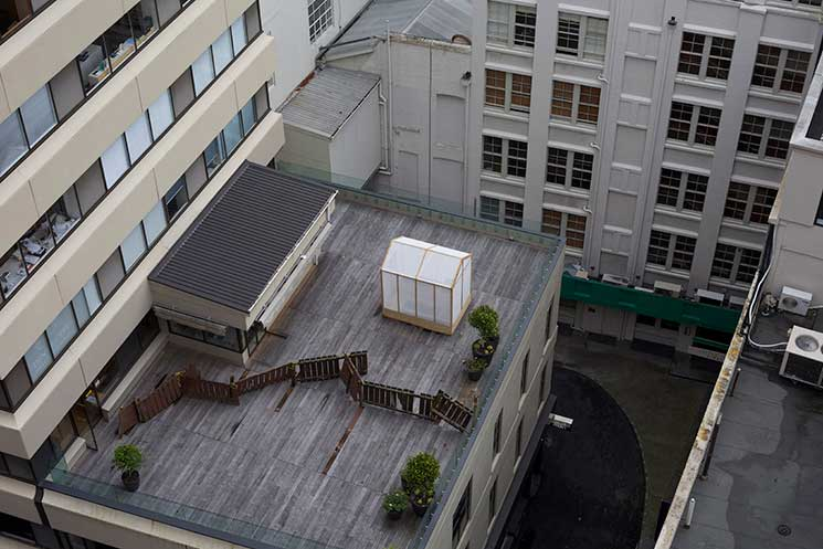 Anthony Cribb's beneficiary greenhouse installation on the Creative New Zealand decking, High Street, Auckland
