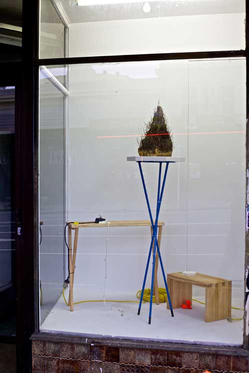 Anthony Cribb's artistic installation in the Ozlyn art gallery window, Karangahape Road, Auckland